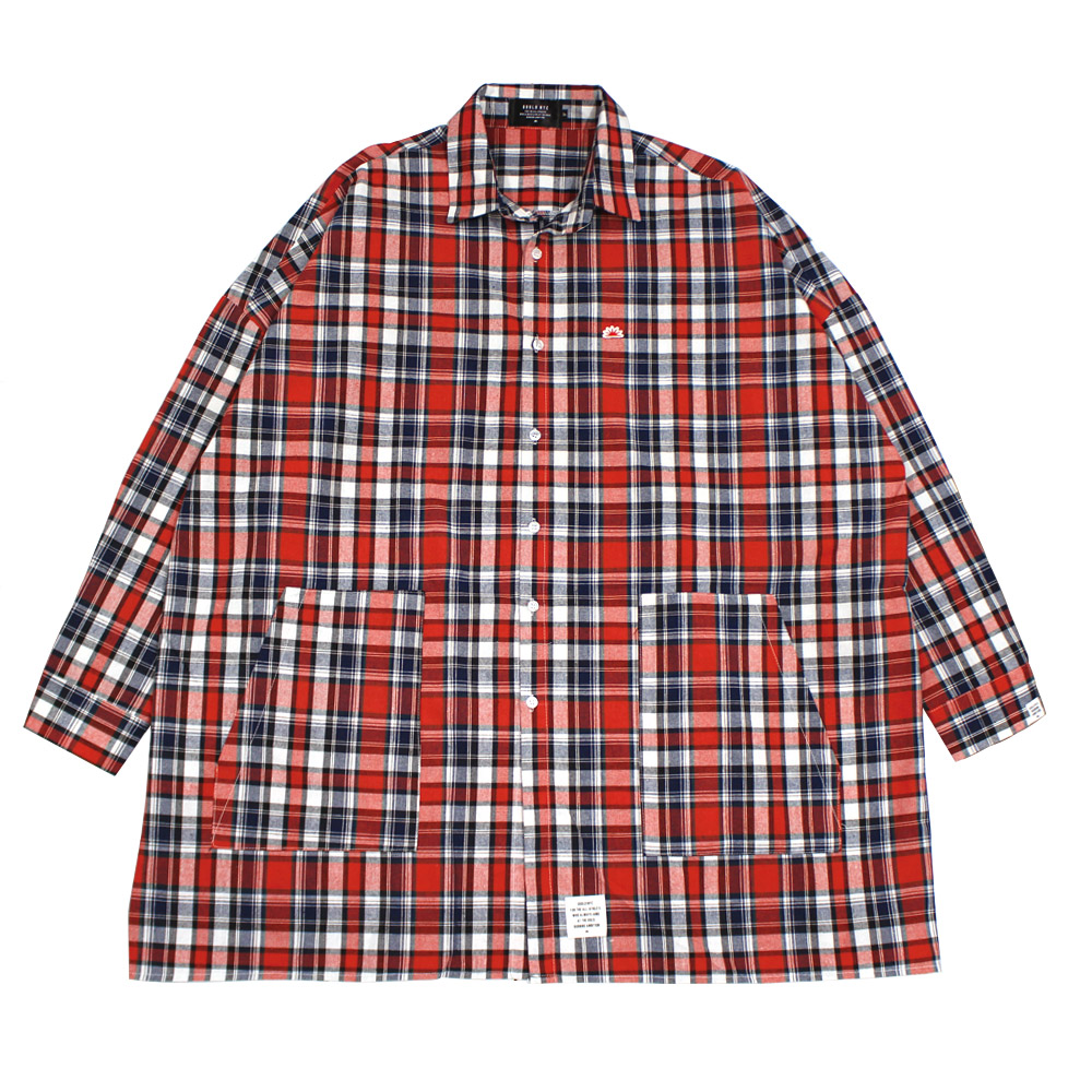 BIG silhouette GNFlannel shirt(red)